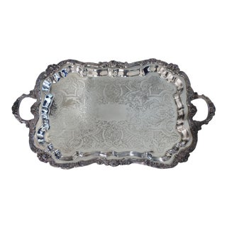 Vintage Silverplate Tray With Handles For Sale