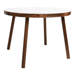 "Poco Large Round 30"" Kids Table in Walnut With White Top For Sale"