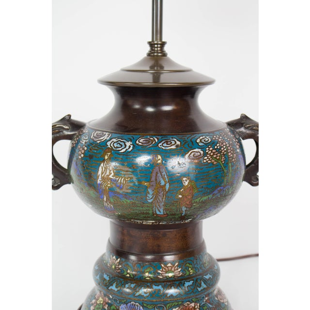Metal Restored Antique Champleve Table Lamp For Sale - Image 7 of 11