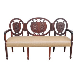 Traditional Solid Mahogany Carved Wood Bench/ Sofa For Sale