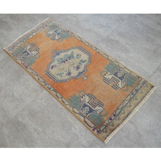 Distressed Low Pile Turkish Yastik Petite Rug Hand Knotted Faded Mat - 21'' X 45'' Preview