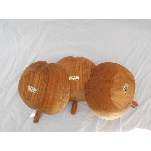 Teak Mid-Century Teak Nut Bowls - Set of 3 For Sale - Image 7 of 7