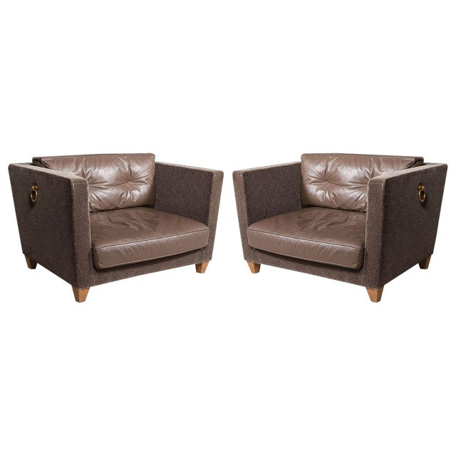 Olivier Gagnere Pair of Mohair and Leather Lounge Chairs For Sale