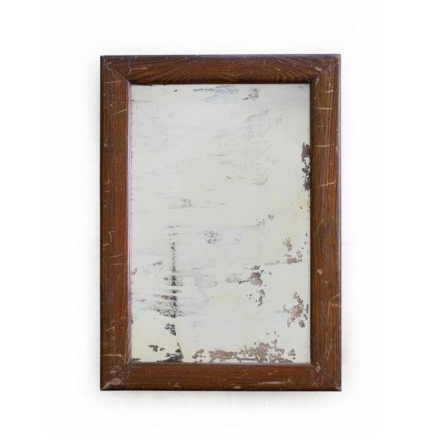 Vintage Faux Wood Grain Metal Mirror For Sale