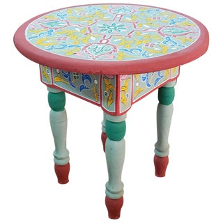 Moroccan Handpainted Wooden End Table For Sale