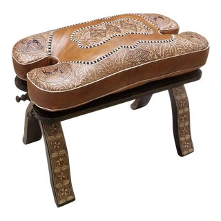 Brown and Tan Moroccan Camel Saddles Leather Cushion Wooden Base Footstool For Sale