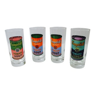 Andy Warhol Art Soup Can Glass Set Barware Campbell Soup Glasses - Set of 4