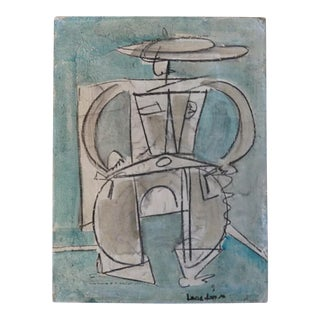 1960s Vintage Lucia Lopez Abstract Figurative Painting For Sale