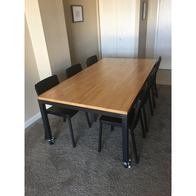 Room & Board Butcher Block Dining Room Table - Image 4 of 8