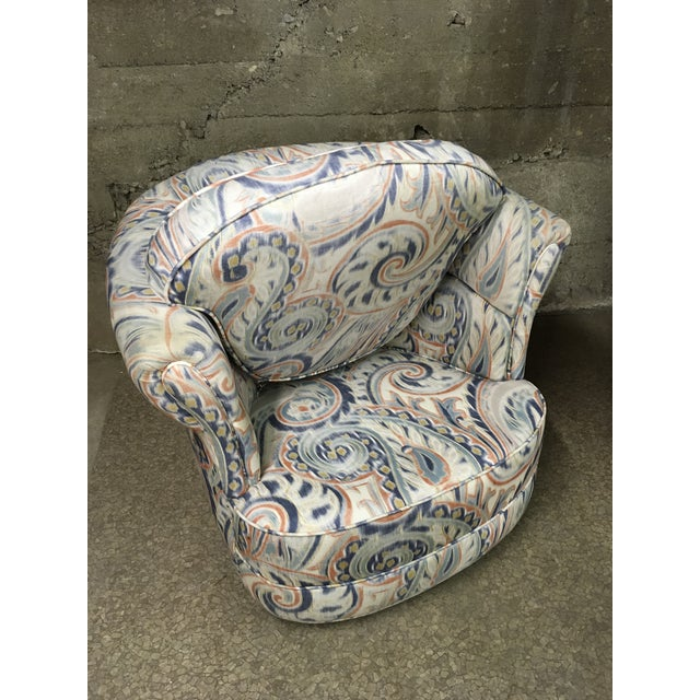 Textile 1990s Vintage Custom Sculptural Swivel Club Chairs- A Pair For Sale - Image 7 of 10