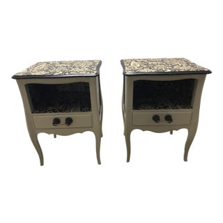 1970s Folk Art Hand Painted and Papered Side Tables - A Pair For Sale