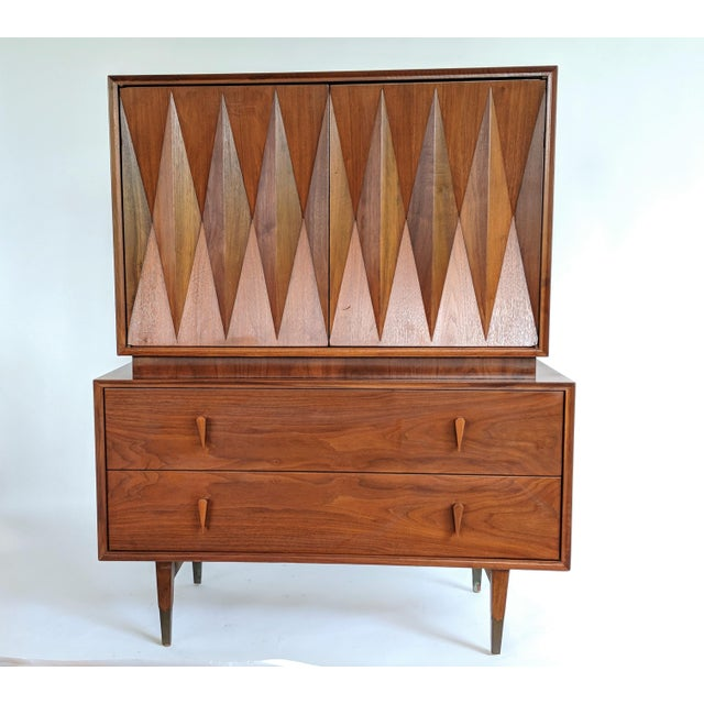 Designed by Albert Parvin. Interesting and unique geometric design of superior quality. Dresser has been professionally...