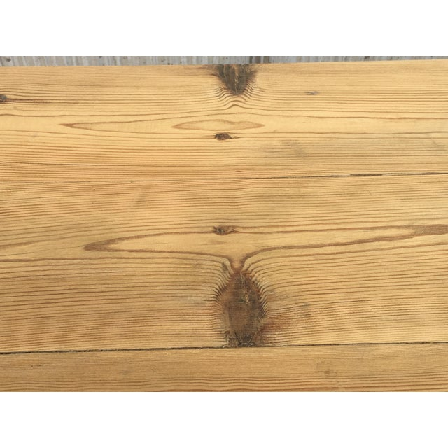 20th Century Midcentury Large Pine Drop-Leaf Country Farm Table With Two Leaves For Sale - Image 10 of 12