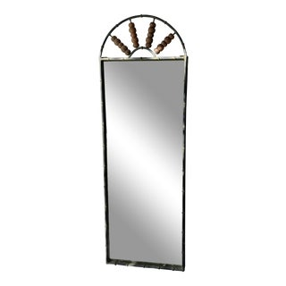 Metal Faux Bamboo Mirror With Round Wood Bowls Details For Sale