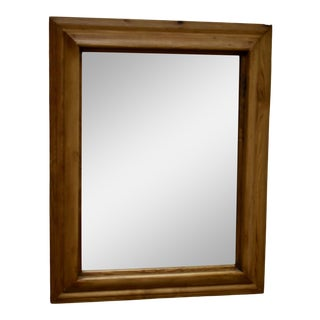 Antique Pine-Framed Mirror With New Glass For Sale
