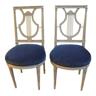 Pair of Louis XVI Painted Lyre Back Style Side Chairsm France Circa 1900, Seat Newly Upholstered in a Blue Velvet. For Sale