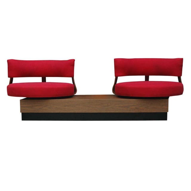 1970s 1970s Mid-Century Modern Red Swivel Lounge Chairs Sofa on Platform Base For Sale - Image 5 of 8