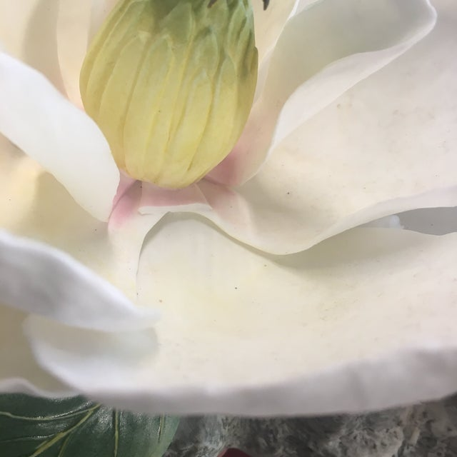 "Ceramic Vintage Hand-Fashioned Boehm Porcelain Bisque Centerpiece ""Magnolia Grandiflora"" Signed by Helen Boehm For Sale - Image 7 of 9"