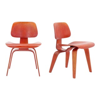 Pair of Eames DCW's, Red Aniline Dyed Ash Plywood, Original For Sale