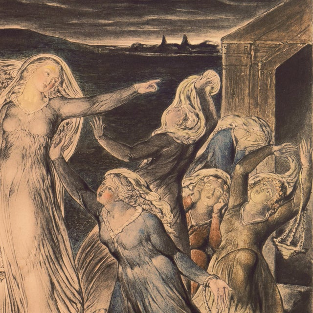 Black 'The Parable of the Wise and Foolish Virgins' by William Blake, Proto-Symbolist Lithograph For Sale - Image 8 of 12