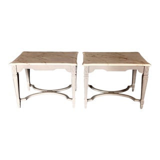 Nightstands With Beveled Carrera Top -A Pair For Sale