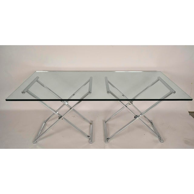 Mid-Century Modern Chrome and Glass Console Table - Image 4 of 6