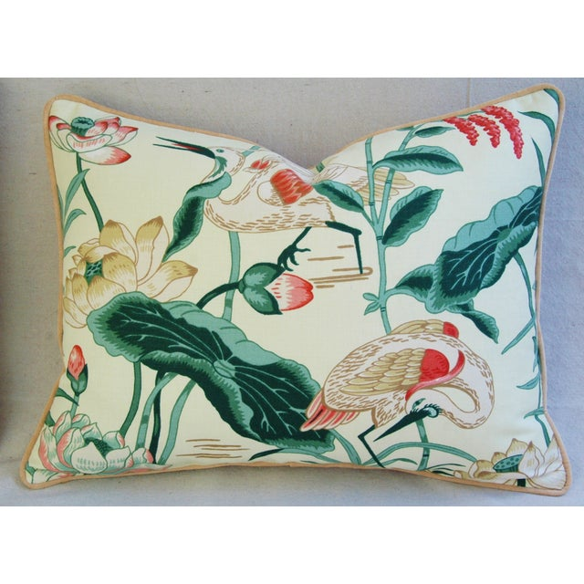 Egrets & Lotus Blossom Pillows - a Pair - Image 5 of 11