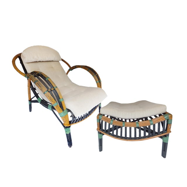 1940s Unusual Twin Reed Lounge Chair For Sale - Image 5 of 9