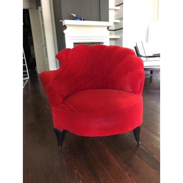 Vintage Scallop Chair With Red Velvet Fabric For Sale - Image 6 of 8