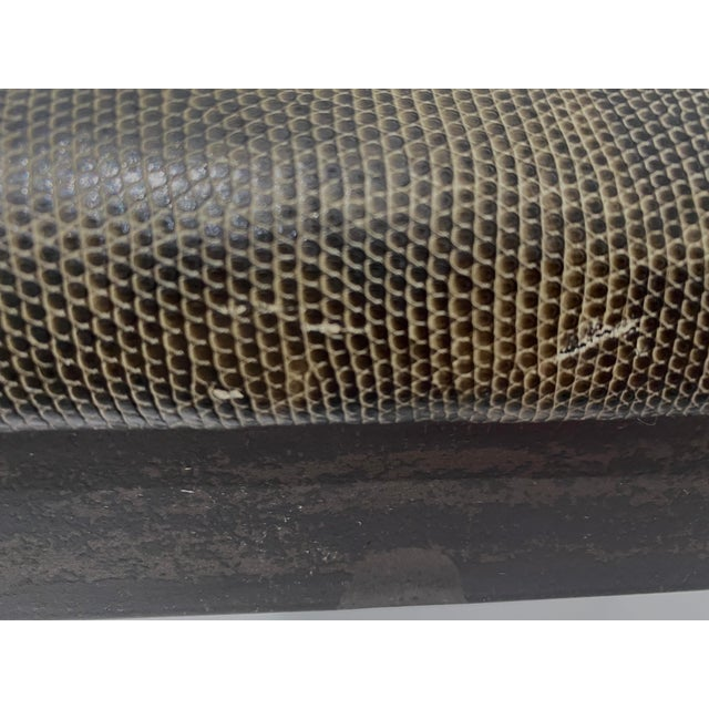 Metal Vintage Artisan Wrought Iron Stool With Faux Lizard Fabric For Sale - Image 7 of 12