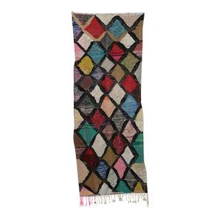 "Moroccan Kilim Boucherouite Rug- 3'4"" X 7'11"" For Sale"
