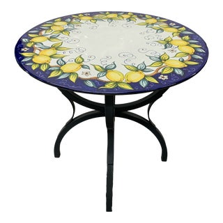 Larg Iron Base Volcanic Stone Top Bistro Table or Dining Table. For Sale