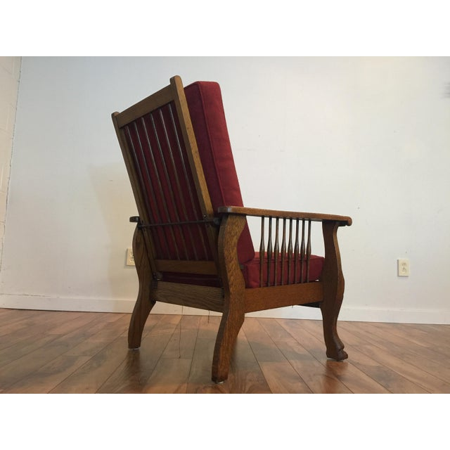Antique Tiger Oak Morris Reclining Chair - Image 3 of 11 - Antique Tiger Oak Morris Reclining Chair Chairish