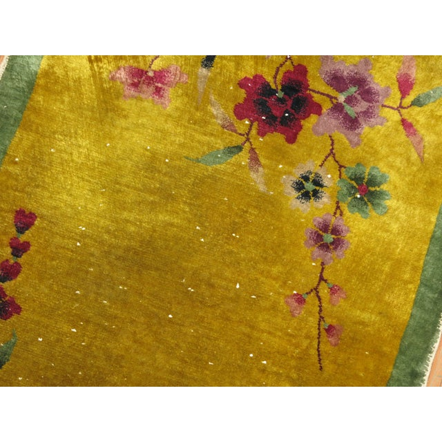 Yellow Chinese Art Deco Rug, 2'11'' X 4'9'' For Sale - Image 4 of 6