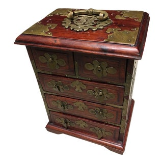 Chinese Pagoda Style Rosewood Brass Hardware Jewelry Box For Sale
