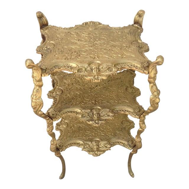 Vintage Hollywood Regency Gold Metal 3 Tier Table For Sale
