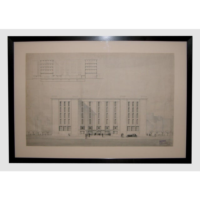 Grand-Scaled French Architectural Drawing For Sale In San Francisco - Image 6 of 6
