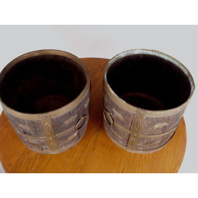 1930s 1930s Antique Oak & Brass Jardinieres - a Pair For Sale - Image 5 of 6