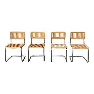 1970s Vintage Danish Teak and Chrome Slate Cantilever Chairs - Set of 4