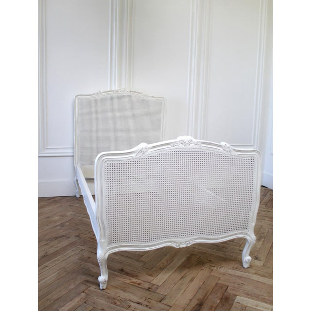 French Reproduction Twin Carved and Painted Louis XV Style French Bed With Cane For Sale - Image 3 of 12