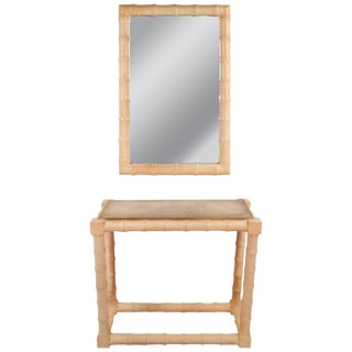 Mid-Century Modern Faux Bamboo Vanity and Mirror For Sale