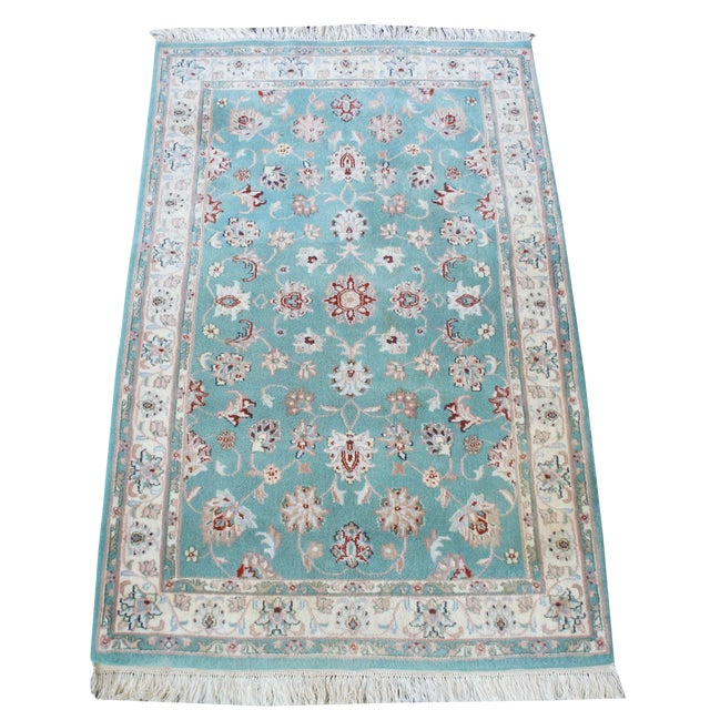 Persian Hand Knotted Kashan Silk And Wool Area Rug Ebth: Persian Kashan Oriental Hand Knotted Turquoise Wool India