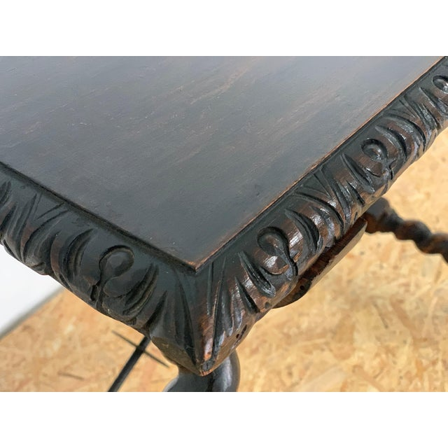 Brown 19th Century Salomonic Baroque Side Table With Carved Top and Iron Stretchers For Sale - Image 8 of 11