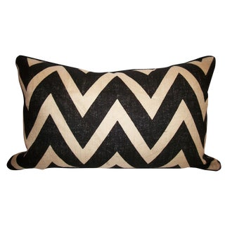 Burlap Chevron Pillow with Kravet Suede For Sale
