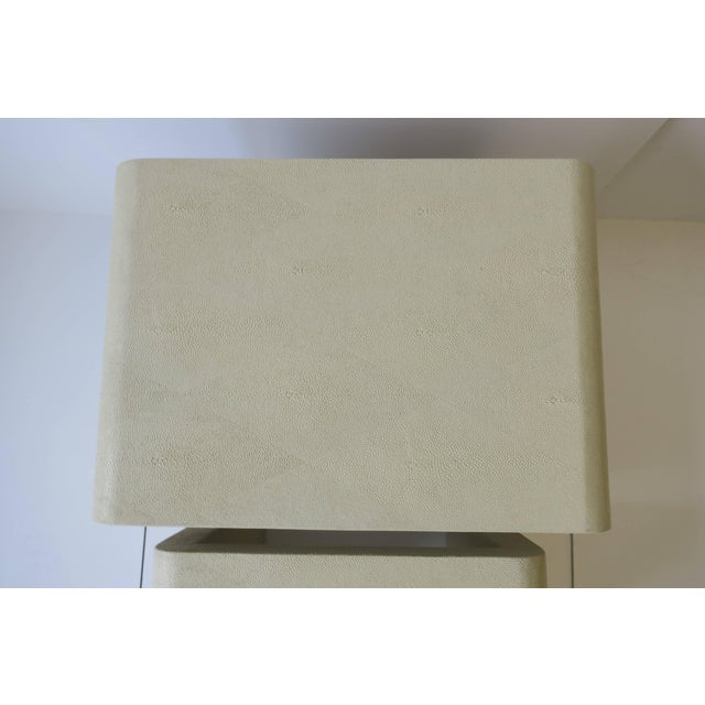 Shagreen-Esque Nesting Tables With Waterfall Edge For Sale - Image 10 of 12