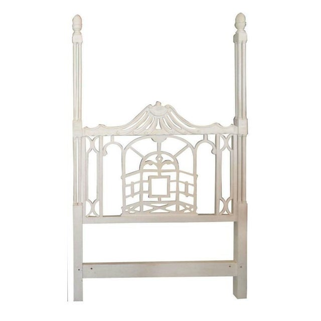 Asian Vintage Chippendale Hollywood Regency Pagoda Twin Headboards - A Pair For Sale - Image 3 of 6