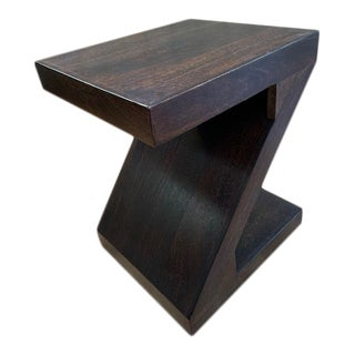 1970s Modern Z Shaped Solid Wood Side Table For Sale