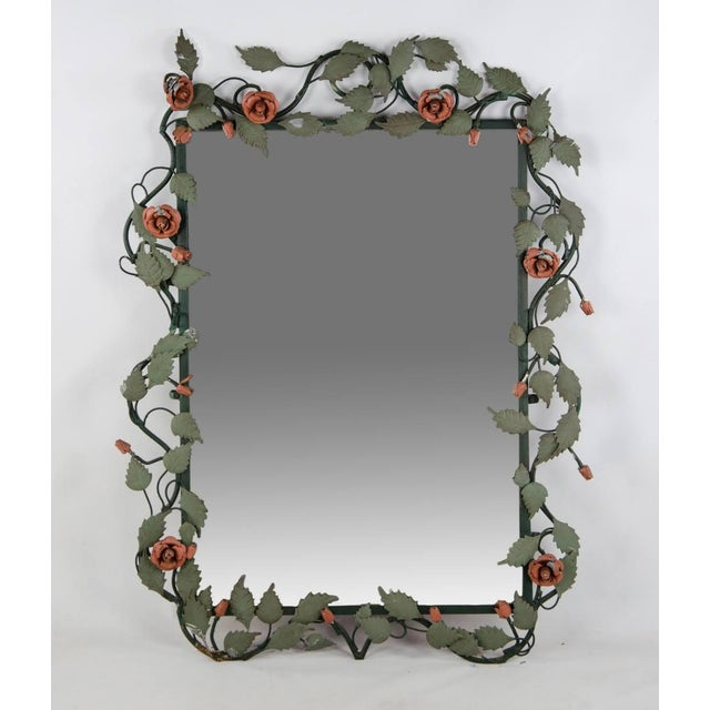 Mid-century Italian Toleware Rose Wall Mirror For Sale - Image 13 of 13