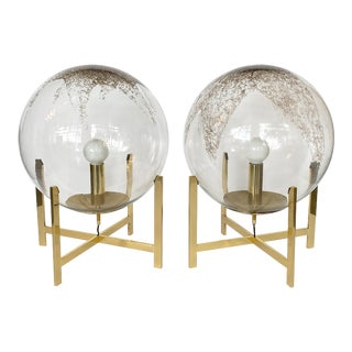 Pair of La Murrina Murano Glass Globes and Brass Table Lamps For Sale