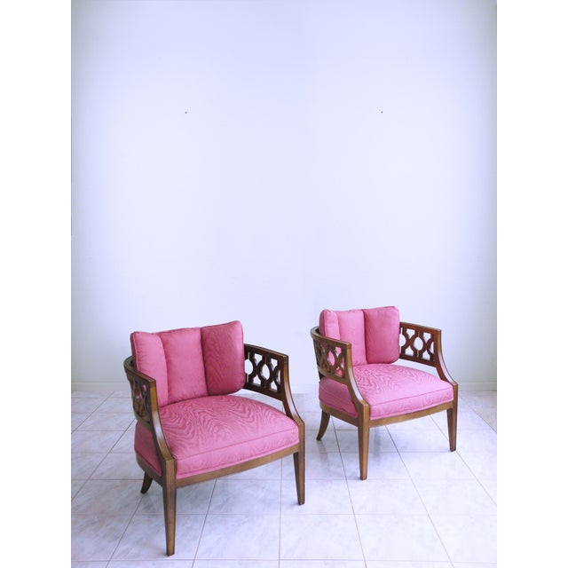 Mid Century Pink Lattice Back Barrel Chairs After William Billy Haines - a Pair For Sale - Image 9 of 9